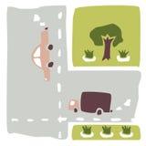 La composición del coche, del camino, de los árboles y de los macizos de flores Fotografía de archivo