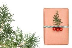 La composición del día de fiesta de la Navidad Regalo de la Navidad Copie el espacio foto de archivo libre de regalías