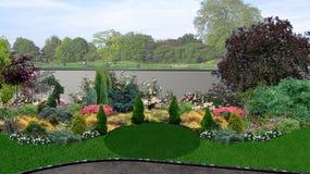 La composición del diseño del verde del patio trasero, 3d rinde libre illustration