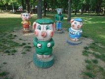La composición del lobo y de los tres pequeños cerdos Cuento de hadas, parque de ocio Imagen de archivo