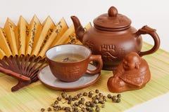 La composición del té verde Imágenes de archivo libres de regalías