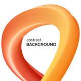 La composition abstraite de couleur de l'aquarelle orange ondule Photo libre de droits
