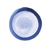 La composition abstraite de l'aquarelle entoure dans bleu et gris sur un fond blanc Le calibre avec l'espace vide Images libres de droits