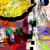 La composition abstraite en fond, avec des courses de peinture, éclabousse illustration de vecteur