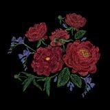 La composition avec les pivoines, sauvage brodés et le jardin fleurit, bourgeonne et part Broderie de point de satin, conception  illustration de vecteur