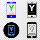 La composition de Gradiented a pointillé Yen Mobile Banking et le timbre de Grunged illustration stock