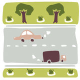 La composition de la voiture, de la route, des arbres et des parterres Photo libre de droits