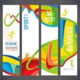 La composition de vecteur d'une vague de bandes avec différentes couleurs sont entrelacées comprenant des symboles de sport illustration libre de droits