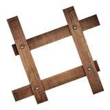 La composition des planches en bois foncées a vissé le cadre Photos libres de droits