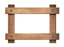 La composition des planches en bois foncées a vissé le cadre Photographie stock libre de droits
