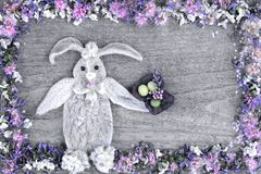 La composition du lapin des feuilles de la fleur Stakhis et du cadre des fleurs Spirea et Veronica photos stock