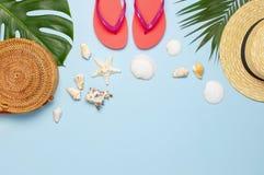 La composition en été plate s'étendent Coquillages tropicaux de corail de protection solaire de noix de coco de palmettes de basc photographie stock libre de droits