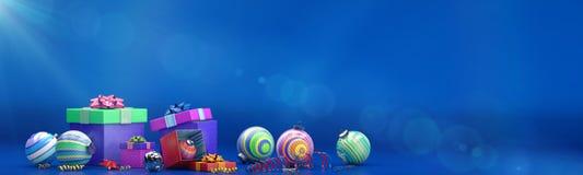 La composition en bonne année avec la couleur joue la décoration et la boîte de magie Image libre de droits