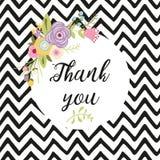 La composition en fleur avec le texte en cercle vous remercient dirigent pour la carte de mercis de gratitude illustration stock