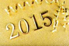 La composition en nouvelle année avec de l'or numéro 2015 ans Images libres de droits