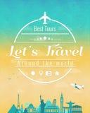 La composition en voyage avec les points de repère célèbres du monde et le vintage badge Voyage et tourisme abrégez le fond Vecte Image stock