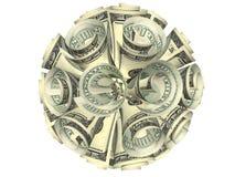 La composition ovale des billets de banque s'est effondrée un tube Photographie stock libre de droits