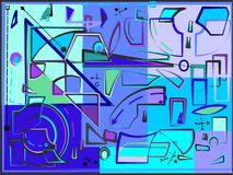 La composizione astratta, immagina le forme blu curve e geometriche su fondo blu-chiaro 17 -266 Fotografia Stock Libera da Diritti