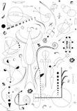 La composizione astratta, immagina le forme curve annerisce su fondo bianco Fotografia Stock Libera da Diritti