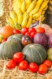 La composizione con la frutta e le verdure si chiude su Fotografie Stock