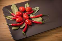 La composizione dei pomodori ciliegia di verdure dei peperoncini rossi del pepe e della b Fotografia Stock Libera da Diritti