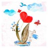 La composizione del cuore dell'acquerello Fotografia Stock
