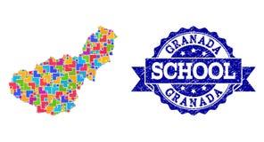 La composizione della mappa del vino dell'uva della provincia di Granada ed i vini premio timbrano illustrazione di stock