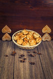 La composizione di pasticceria di recente al forno Fotografia Stock
