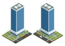 La composizione isometrica nelle case della città con costruzione e la strada ha isolato l'illustrazione di vettore Raccolta degl royalty illustrazione gratis
