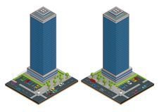 La composizione isometrica nelle case della città con costruzione e la strada ha isolato l'illustrazione di vettore Raccolta degl illustrazione vettoriale