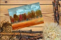 La composizione nella decorazione su fondo di legno si imbarca sull'acquerello Fotografie Stock