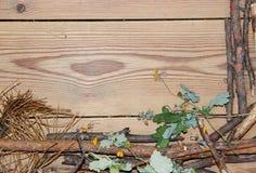 La composizione nella decorazione sui bordi di legno del fondo ha allineato fatto di Fotografie Stock Libere da Diritti