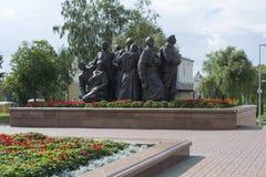 La composizione scultorea che consiste dei soldati, le loro mogli a Fotografia Stock Libera da Diritti