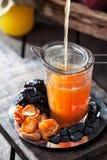 La compota rústica de la calabaza, de manzanas y de la fritada da fruto Imagenes de archivo