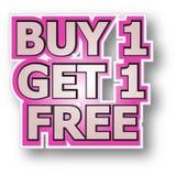La compra 1 consigue 1 libre Fotos de archivo