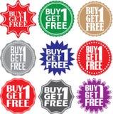 La compra 1 consigue 1 etiqueta libre La compra 1 consigue 1 muestra libre La compra 1 consigue 1 libre Imagenes de archivo