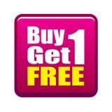 La compra 1 consigue 1 libre Imagenes de archivo