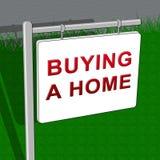 La compra de un hogar muestra el ejemplo de Real Estate 3d Foto de archivo
