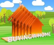 La compra de un hogar significa el ejemplo de Real Estate 3d Imagen de archivo