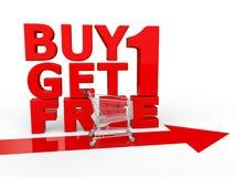 La compra una consigue uno libremente con el carro de la compra libre illustration