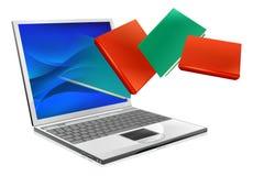 La computadora portátil reserva la educación o el concepto del ebook Imagen de archivo libre de regalías
