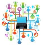 La computadora portátil social de la red CANTA Imagenes de archivo