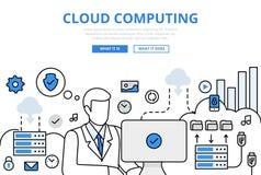 La computazione della nuvola carica la linea piana icone di concetto di vettore di arte illustrazione vettoriale