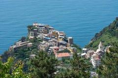 La comuna Corniglia en Cinque Terre, Italia Foto de archivo libre de regalías