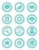 La comunicación abotona el conjunto del azul Fotografía de archivo libre de regalías