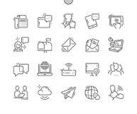 La comunicación Bien-hizo la línea fina rejilla 2x de los iconos 30 del vector a mano perfecto del pixel para los gráficos y Apps Imagen de archivo libre de regalías