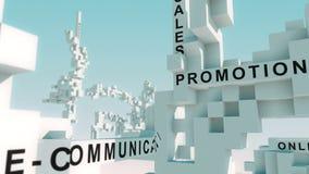 La comunicación de comercialización integrada redacta animado con los cubos ilustración del vector
