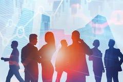 La comunicación del equipo del negocio en ciudad, representa gráficamente ilustración del vector
