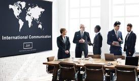 La comunicación internacional global comunica concepto imagenes de archivo