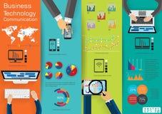 La comunicazione commerciale della tecnologia del computer portatile del computer attraverso l'idea moderna del mondo ed il conce illustrazione vettoriale